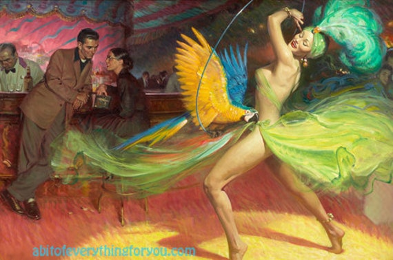 show girl dancer parrot vintage painting printable pinup girl art digital download image graphics downloadable artwork