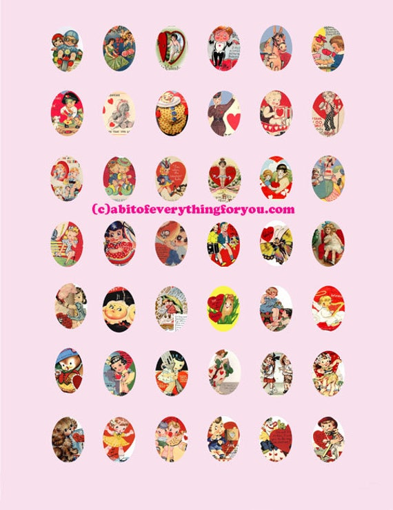 vintage Valentines cards clip art digital download collage sheet 18mm x25mm ovals cameosl ove images printables for pendants pins magnets