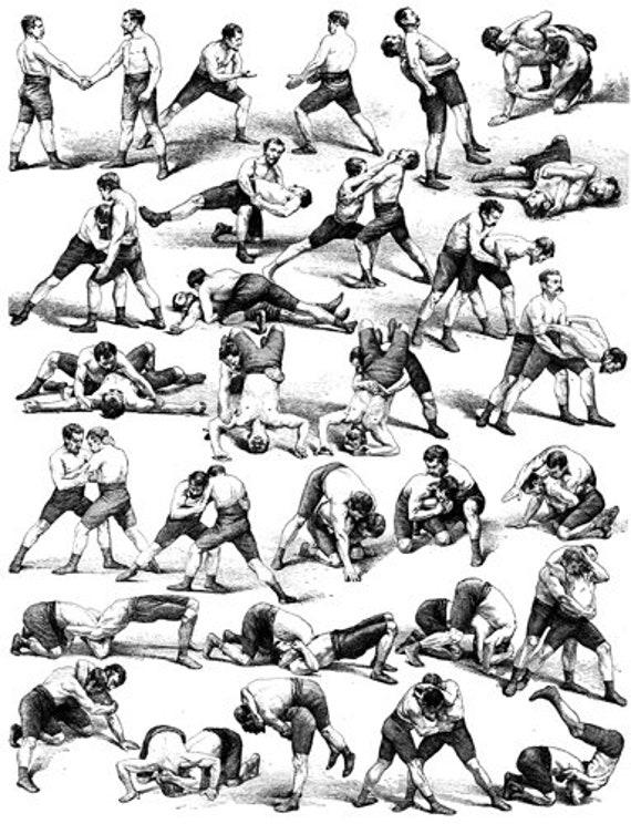 wrestling positions sports art print wrestler moves black & white 1800s art illustration
