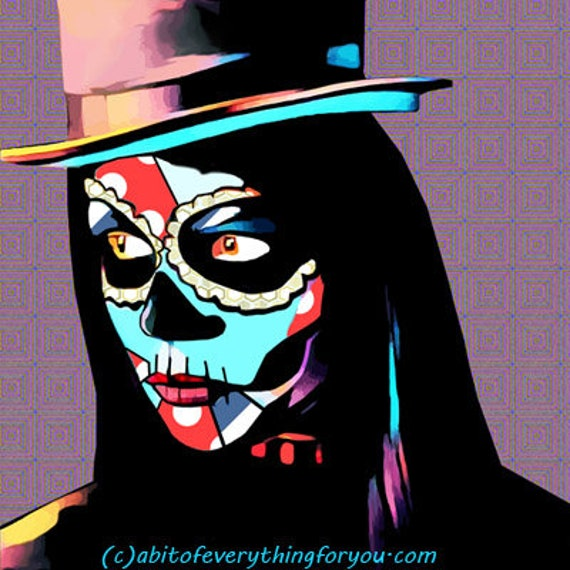 printable art day of the dead skull girl top hat abstract print original skeleton art digital download graphics images downloadable muertos