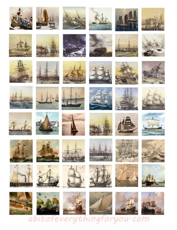 sailing ships boats nautical art collage sheet for jewelry 1 inch squares clip art digital download graphics images pendant  printables