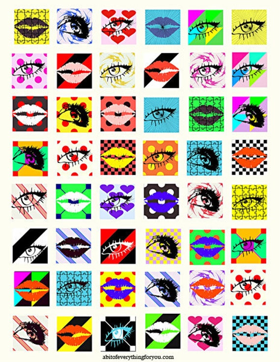 downloadable collage sheets eyes lips makeup clip art digital download 1 inch squares graphics images printables for pendants pins magnets