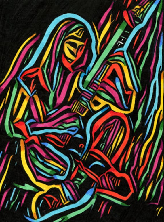 original drawing woman playing guitar abstract art ink markers musicians music colorful modern artwork Elizavella