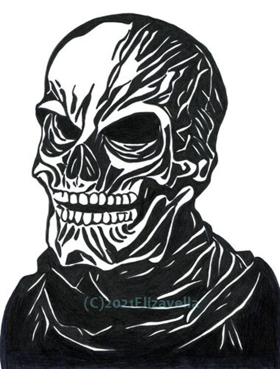 horror original art, Skeleton original art, skulls, abstract original art, ink drawing, macabre, monsters, marker illustration, Minimalism