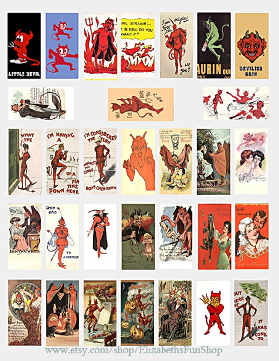 "cartoon devils domino collage sheet 1"" x 2"" inch images vintage art postcards digital download graphics clipart domino pendant printables"
