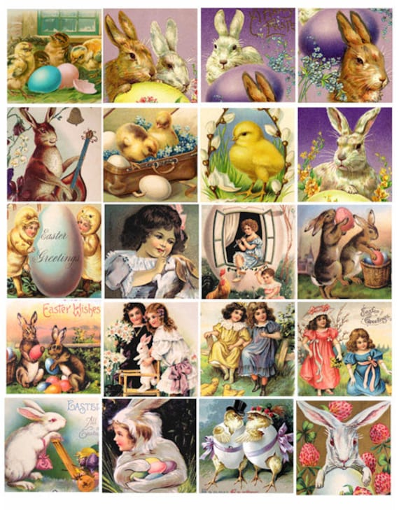 vintage easter postcard bunny rabbit baby chicks clip art collage sheet 2 inch squares graphics images digital download craft printables