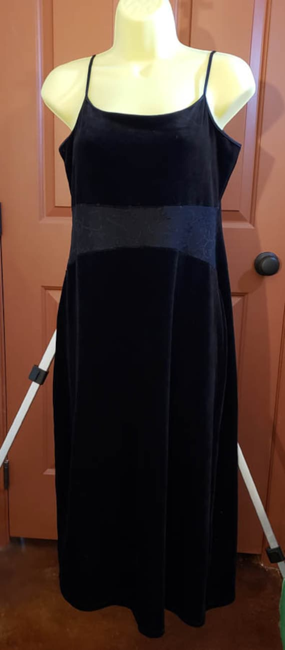 long black velour style womens evening dress thin straps SZ Large goth clothes