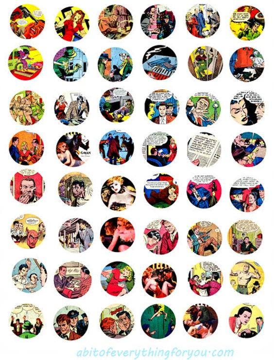 crime comics art collage sheet 1 inch circles clipart digital downloadable printable vintage comic book images bottlecaps pendants bezels