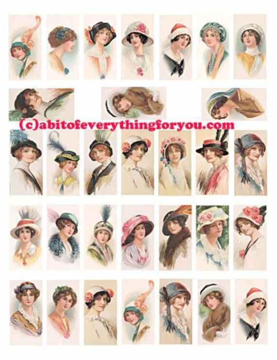 vintage flapper girls hat fashion domino collage sheet clipart digital download 1x2 inch graphics 1920s woman images printables