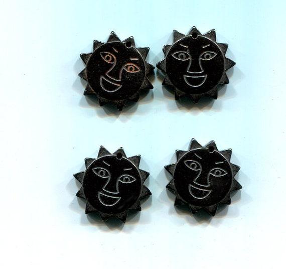 happy sun face pendant black hematite stone 20mm charms sun gemstone jewelry