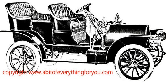 antique convertibe car automobile art printable clipart png digital download image graphics digital stamp black and white