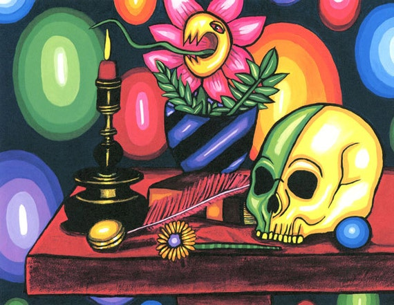 abstract Skull Art Print magic altar witch spells skull abstract skeleton art day of the dead candle fly catcher flower fantasy sci fi goth