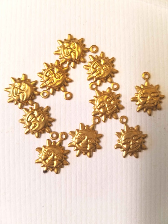 10 gold brass sun face charms 10mm metal celestial jewelry making supplies