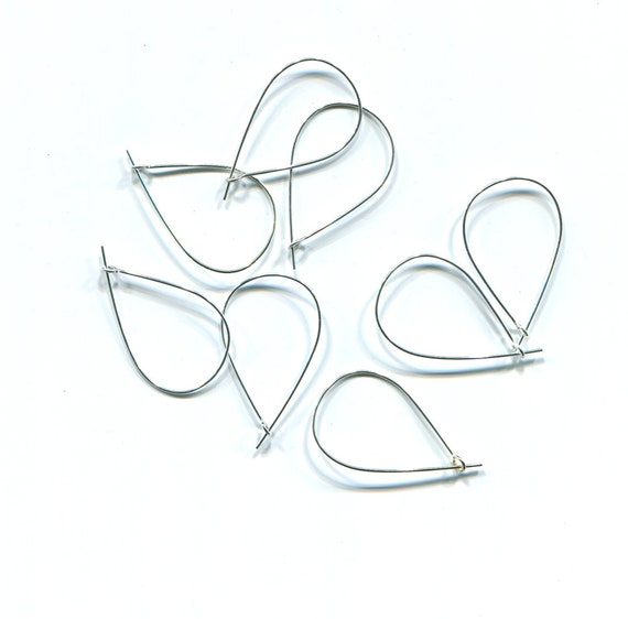 8 silver teardrop hoops earring findings 18mm x 30mm jewelry supplies
