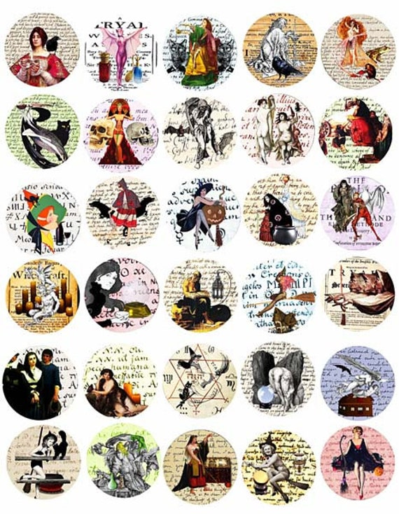 "witches salem witch trial documents collage sheet clip art digital download 1.5"" inch circles graphics images diy craft printables"