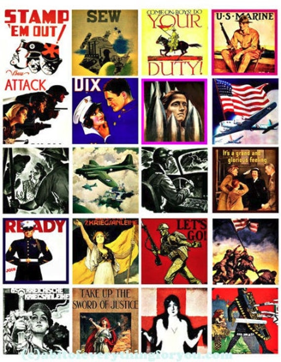 """vintage military war art posters clipart digital download collage sheet 2"""" inch squares graphic images printable diy jewelry making"""