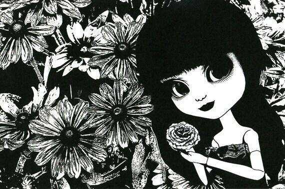 flower child big eye doll art print big eyes girl original art dark hair black & white illustration daisies outsider art big eyed girl
