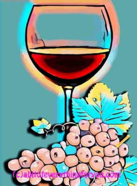 wine glass grapes abstract still life pop art printable digital download downloadable picture home living room office decor