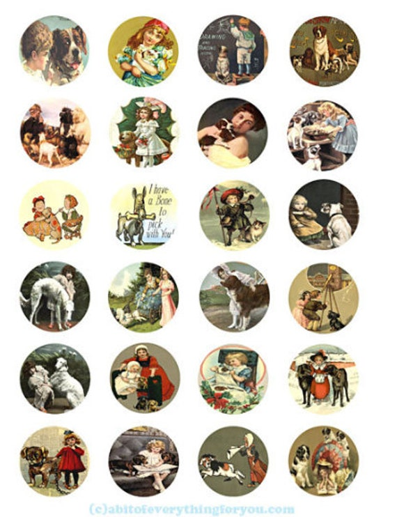 collage sheet 1.5 inch circles puppy dogs vintage art postcards clip art digital download  graphics images pendant printables magnets pins