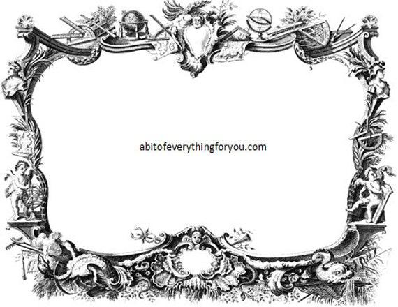 angel cherub frame printable art clipart png jpg downloadable vintage image graphics medieval renaissance digital download illustration