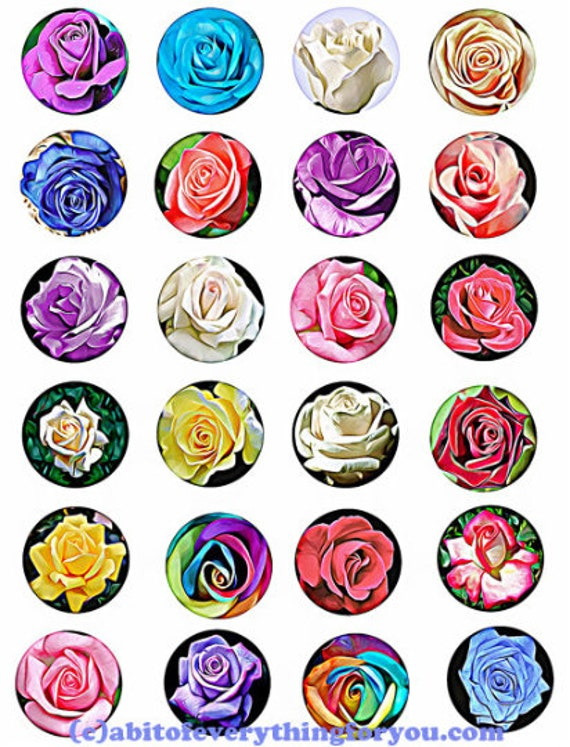 printable digital collage sheet roses flowers clipart 1.5 inch circles downloadable botanical images pendants diy jewelry making scrapbook