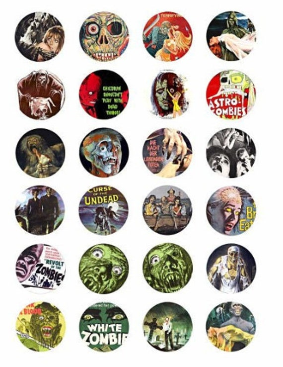printable zombies undead vintage horror movie posters digital downloadable collage sheet clipart 1.5 inch circles DIY jewelry making pendant
