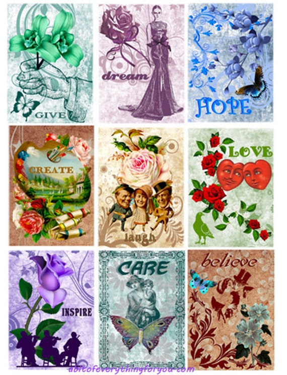 printable collage sheet inspirational words flowers art 2.5 x 3.5 inch images clipart digital download graphics downloadable images