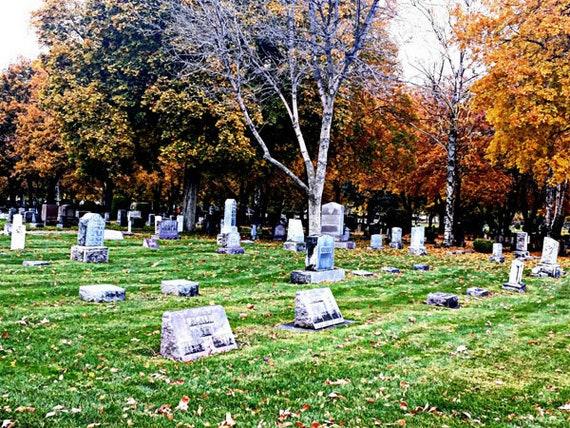 Cemetery tombstones Fall trees photography print, landscape prints, graveyard, autumn, Missoula montana nature photograph, orange trees
