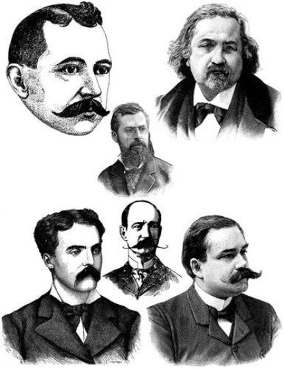 mens faces moustache beard hair vintage printable art clipart png jpg collage sheet download digital image graphics