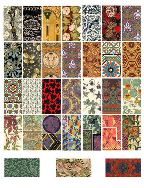 """vintage fabrics textiles patterns art clipart digital download domino collage sheet 1"""" x 2"""" inch graphics images printables pendants magnets"""