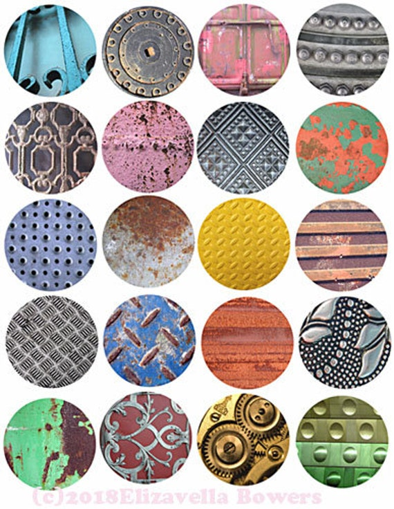"collage sheet metals grunge digital download 2"" inch circles graphics steampunk images printables diy crafts jewelry making scrapbooking"