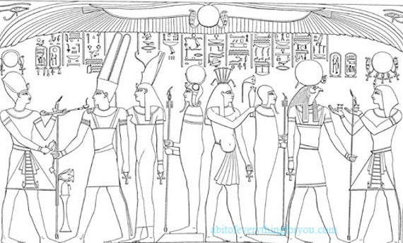 ancient Egypt egyptian people wall art hieroglyphics coloring page printable download digital coloring pages image graphics
