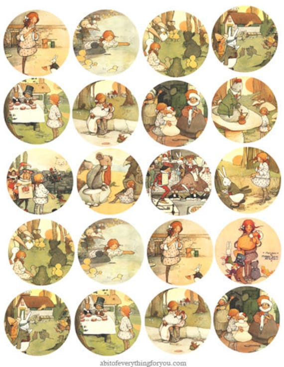 Vintage Alice in wonderland 1900s collage sheet 2 inch circles clip art digital downloadable graphics images download printables