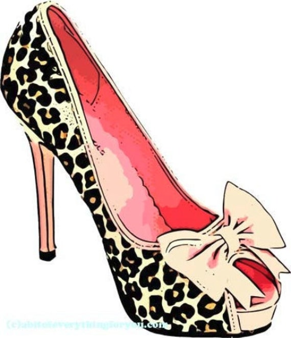 womans leopard bow high heels shoe printable art clipart png jpg downloadable digital download image fashion graphics art prints