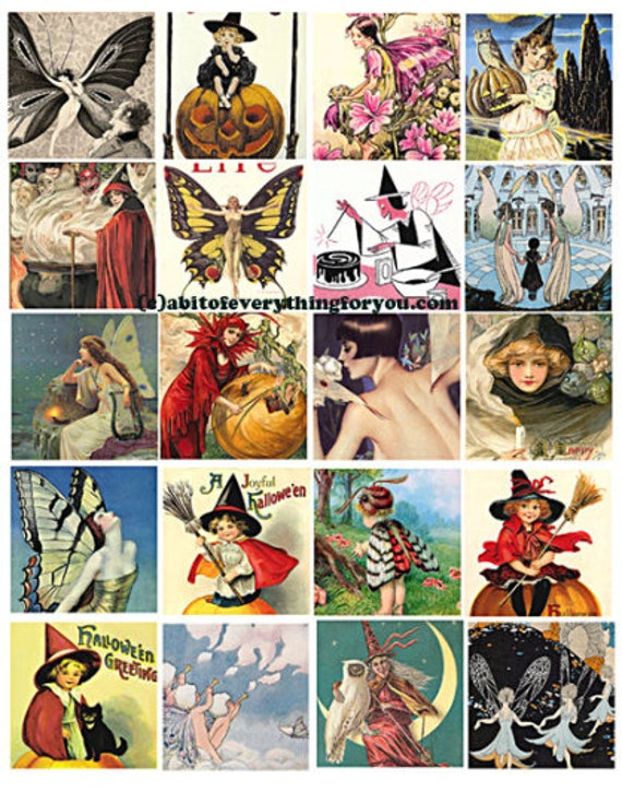 collage sheet download vintage fairy witches 2 inch squares clipart digital downloadable graphics images printable pendants pins magnets