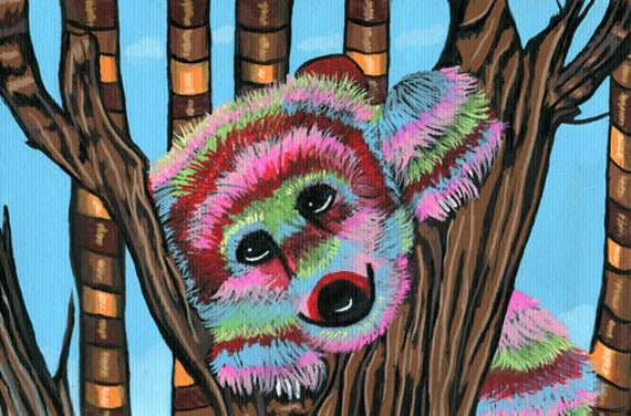 pinata cute bear cub original art painting abstract trees acrylics animals forest colorful artwork Elizavella home decor gifts
