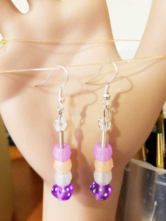 party jewelry glow in the dArk purple earrings long bead drops dice handmade