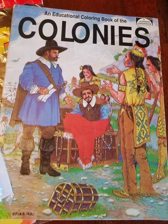 vintage colonies educational kids coloring book 1994
