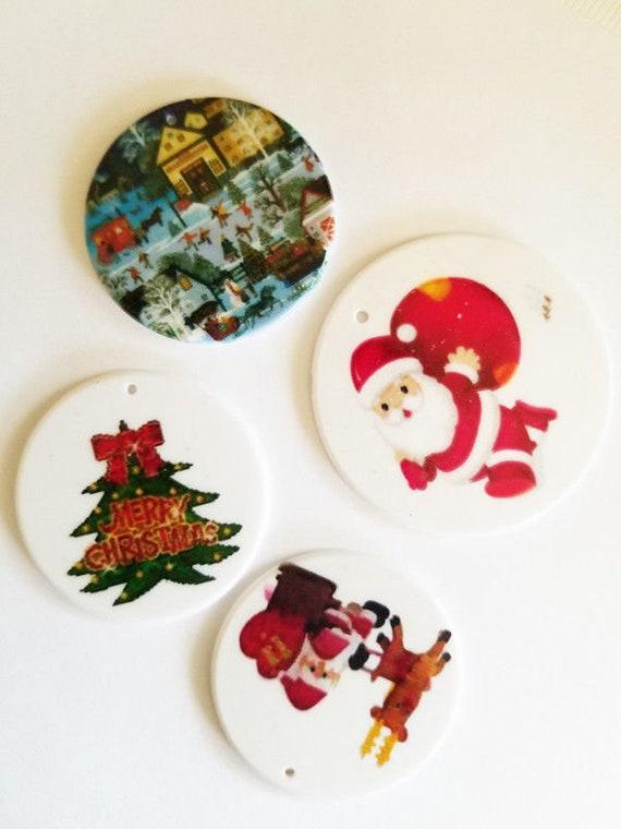 plastic round printed christmas ornament pendants 50mm 60mm charms santa tree