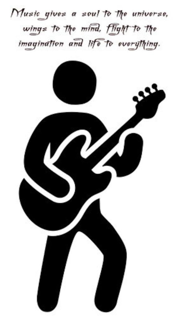 guitar player music quotes printable art print clipart png musician download digital image graphics digital stamp silhouette artwork