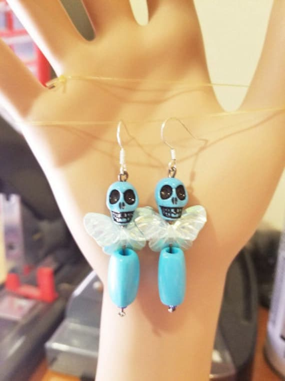 blue butterfly sugar skull earrings skull bead earrings dangles goth skeleton skull bead earrings day of the dead beaded punk jewelry