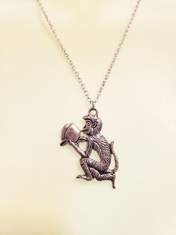 silver tone monkey pendant NECKLACE chain metal jungle safari animal mens womens unisex jewelry