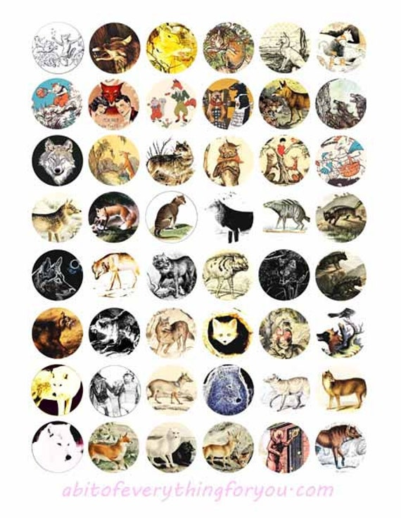 collage sheet 1 inch circles wolf wolves animals nature vintage art wildlife clipart digital downloadable images pendant printables diy