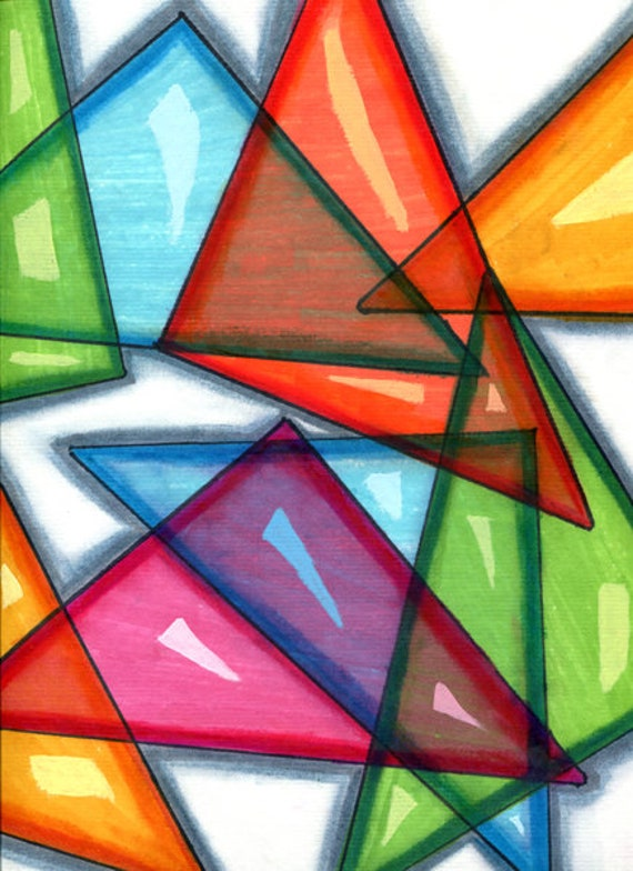 Glass Shards Triangles abstract original art drawing geometric shapes colorful modern Elizavella