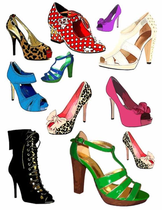 high heels shoes printable art clipart die cuts png jpg downloadable digital download image womens fashion graphics art digtal prints