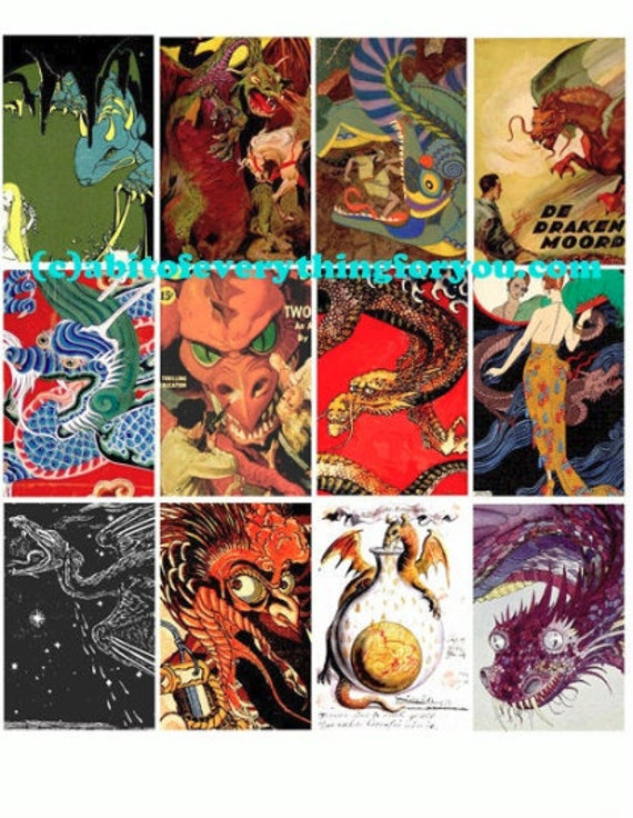 """printable vintage medieval chinese dragons clipart collage sheet 2"""" x 3"""" inch fairytale fantasy digital downloadable images diy crafts"""