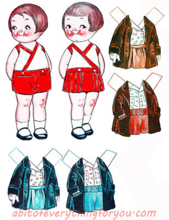 vintage dolls paper doll & clothes printable die cuts clipart digital download craft cut outs downloadable graphics images scrapbooking