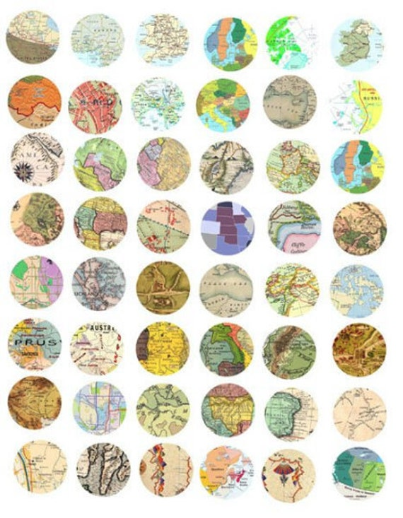 collage sheet vintage world maps clipart digital download 1 inch circles vintage images pendant jewelry making printables