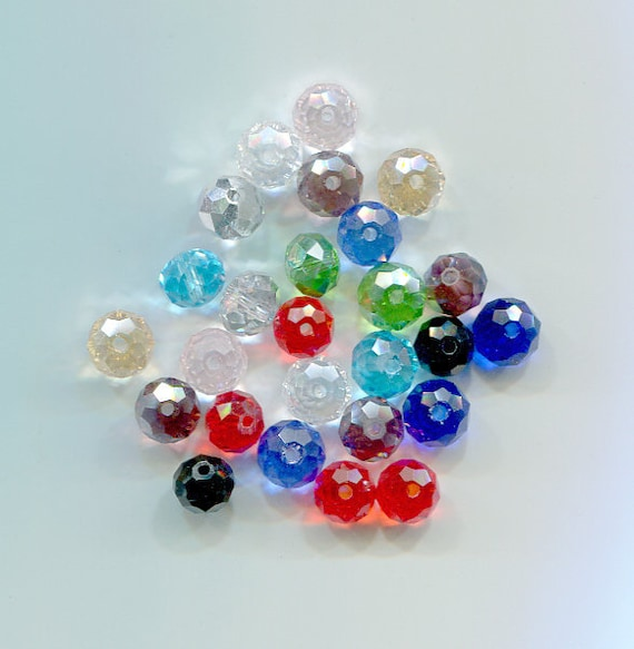 26 glass faceted crystal beads 7mm 8mm loose bead lot glass beads bead lot assorted
