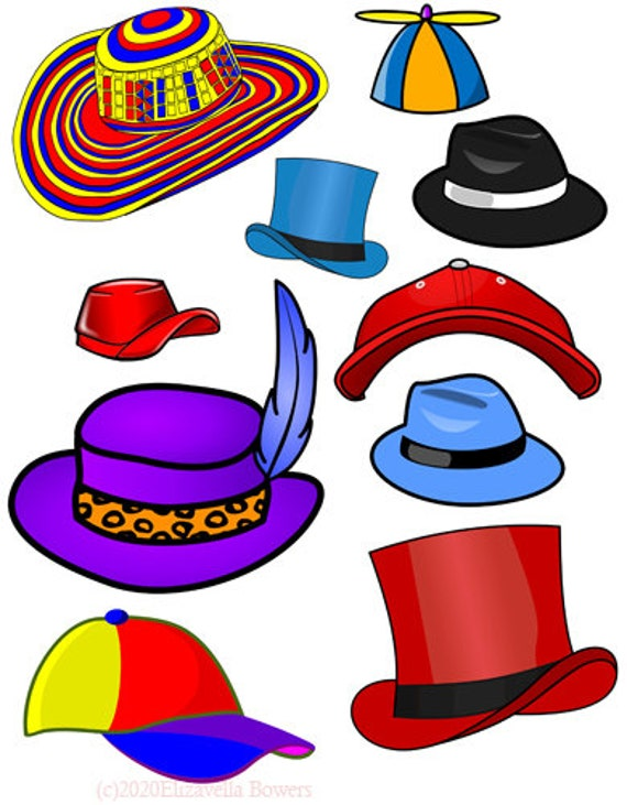 cartoon hats fashion clipart png printable art digital download image collage sheet graphics die cut, Cut outs